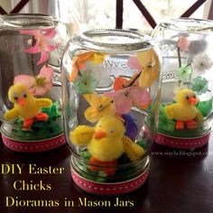 Imagination Station: DIY Easter Chicks Diorama in Mason Jars