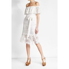 Lace Dress Dhela (66445 DZD) via Polyvore featuring dresses, white textured dress, lace dress, white tie dress, white day dress and lacy white dress