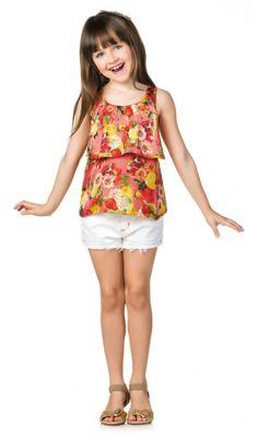 Blusa floral com detalhe na altura da cintura
