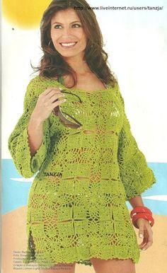 Uncinetto d'oro: La tunica lunga verde!!!   free pattern