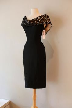 1950's Black Fitted Wiggle Dress ~ Vintage 1950's Bombshell Cocktail Dress Waist 30 by xtabayvintage on Etsy Women, Men and Kids Outfit Ideas on our website at 7ootd.com #ootd #7ootd