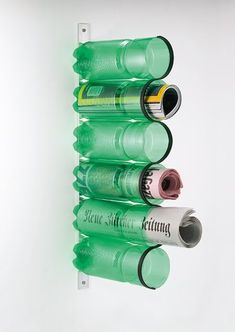 Recycled plastic bottles.