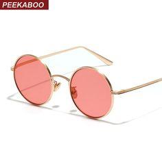 064d30571a 6.2 30% de DESCUENTO|Aliexpress.com: Comprar Gafas de sol circulares  Peekaboo retro vintage plateado dorado metal marco claro amarillo rojo  redondo para ...