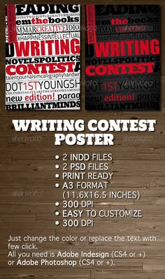 Writing Contest Poster / Flyer — Photoshop PSD #flyer #black • Available here → https://graphicriver.net/item/writing-contest-poster-flyer/624726?ref=pxcr