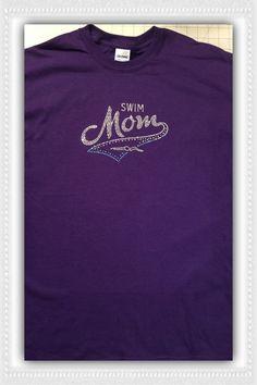 Swim Mom Rhinestone Bling Tee Shirt
