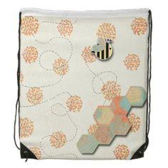 Rustic Bumble Bee Honeycomb Drawstring Backpack