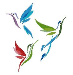 #Birds - #Asian Bird Designs - #Minimal  --Bird/Hummingbird Counted Cross Stitch Pattern