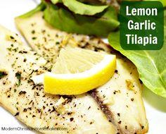 Lemon Garlic Tilapia - Modern Christian Homemaker,making this monday night! Tilapia Recipes, Fish Recipes, Seafood Recipes, Great Recipes, Cooking Recipes, Favorite Recipes, Healthy Recipes, Recipies, Dinner Recipes
