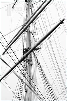 Picture of Detail view of a sailboat mast in black and white