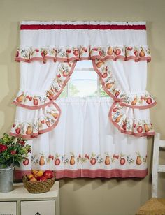Modern kitchen curtains design 2016 is good ideas to enhance an elegant and classy look in your home, as we know curtain is an essential ele. Kitchen Curtain Designs, Modern Kitchen Curtains, Kitchen Curtain Sets, Kitchen Valances, Cottage Curtains, Drapes Curtains, Curtain Panels, Apple Kitchen Decor, Red Kitchen