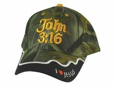 John 3 :16 Embroidered Lettering and Adjustable Hook Camo Cap