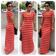 Striped Maxi dress - i just got one. like the long necklace