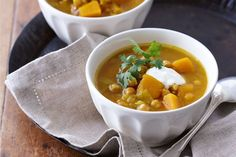Curried pumpkin and chickpea soup