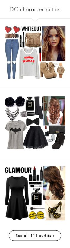 """""""DC character outfits"""" by princess13inred ❤ liked on Polyvore featuring Topshop, TURNOVER, T-shirt & Jeans, MANOLO, Olivia Burton, Witchery, Urban Decay, Lord & Berry, Burberry and Old Navy"""