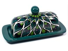 Turquoise Blue Green Talavera Style Butter Dish// If This Is Still Around  When I
