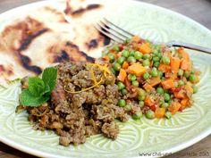 Indische Orangen-Hackfleisch-Pfanne mit Erbsen und Möhren-Gemüse