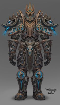 A great Frost Death Knight look, and a great nod to Arthas' armor model-wise. Warcraft Art, World Of Warcraft, Fantasy Armor, Dark Fantasy, Armor Concept, Concept Art, Fantasy Character Design, Character Art, Armadura Steampunk