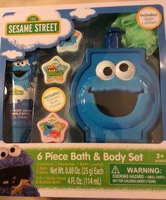 Sesame St Cookie M 6 PC Bath Set Decanter Fizzies 2 1BODYWASH Bubble Bath New | eBay
