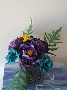 Paper Dreams' Roses and Peonies, handcrafted in paper by a Canadian artist Aqua Color, Teal, Purple, Canadian Artists, Ferns, Peonies, Woodland, Amethyst, Roses
