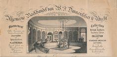 W.F. Dannefelser, 'Algemeene boekhandel', interieur van de zaak (gelith. briefhoofd, ca. 1850) gevestigd Pausdam 5 F274. Dit huis is waarschijnlijk het pand dat op 21/22 april 1892 is verbrand, het was toen inmiddels een delicatessenhandel.