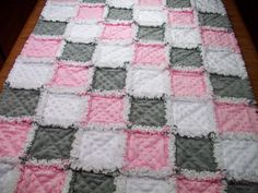 Baby Rag Quilts Pink Grey Baby Quilt Minky by LoveableQuiltsNMore