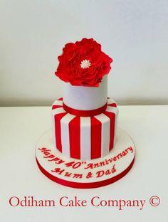 OCC - 2 Tier 40th Wedding Anniversary cake. #cake #wedding #Redflower #stripes #anniversary
