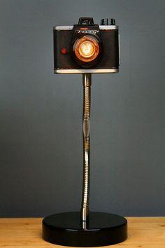 Upcycled Camera Lamp Ansco Ready Flash by RetroBender on Etsy