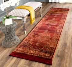Serenity Collection SER210B Color: Ruby/gold - #safavieh #safaviehrugs #safaviehrunners #rugrunners #rugs #hallwayrugs #entrywayrugs #staircaserugs #staircasecarpets #entrywaycarpts #bedroomrugs #livingroomrugs #diningroomrugs #kitchenrugs #hallwaydecor #entrywaydecor #shoprugs #runnercarpets #bluerunnerrug #tauperunnerrug