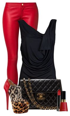 """""""Vixen"""" by fashion-766 ❤ liked on Polyvore featuring Addition by SLY 010, Vivienne Westwood Red Label, Christian Louboutin, Edward Bess, Revlon, loose shirts, leather pants, animal print shoes, leopard print heels and nail polish"""