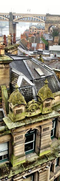 Rooftops and High Level Bridge, Newcastle upon Tyne, England.
