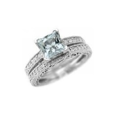 Princess-Cut AAA Blue Aquamarine Matching Engagement/Wedding Ring Band Set 14k White Gold Antique Style