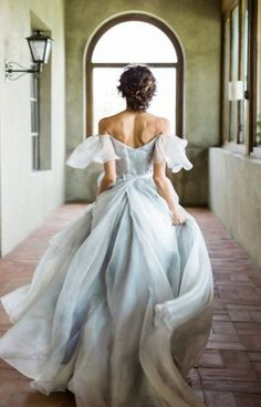 Light Blue Chic Tulle Wedding Dresses Off the Shoulder Chiffon Bridal Gowns