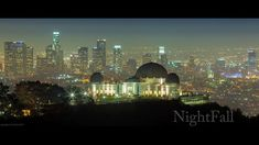 Downtown Los Angeles at night with Griffith Observatory