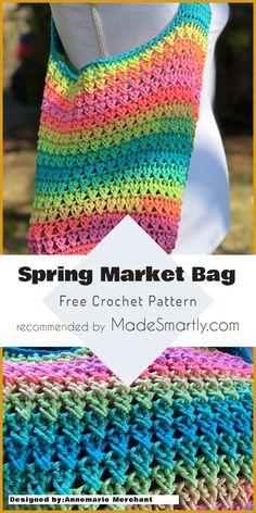 Spring Market Bag - Free Crochet Pattern #crochetpattern #crochetbag #freecrochetpatterns