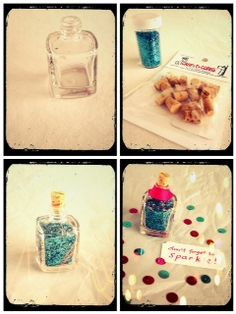 blah: empty nail polish bottle + glitter + mini craft cork/TADA!: a cute gift