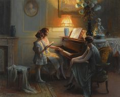 """""""La leçon de chant"""" (By the Piano) by Delphin Enjolras Oil on canvas. European Paintings, Classic Paintings, Beautiful Paintings, Vintage Paintings, Charles Edward, Music Painting, Singing Lessons, Delphine, Impressionism"""