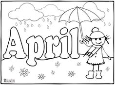 Months of the year coloring pages Make your world more colorful with free printable coloring pages from italks. Our free coloring pages for adults and kids. Spring Coloring Pages, Coloring Book Pages, Coloring Pages For Kids, Coloring Sheets, Preschool Coloring Pages, Free Printable Coloring Pages, Spring Activities, April Showers, Months In A Year
