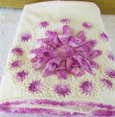 Vintage but New Pillowcases Crocheted by Hand Raised Figural 3D Whirligigs and 25 Small Whirls with Edging Floral Purple Variable 30x17