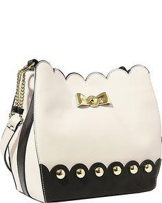 STUDDED AFFAIR BUCKET BAG CREAM accessories handbags day hobos