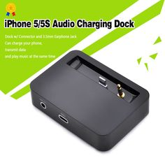 USB Data Sync Charging Dock Station Audio Output For iPhone 5 5S-Black