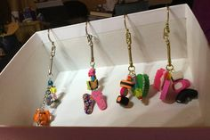 KEY RINGS x 4 Polymer clay and resin charms CHRISTMAS gift Gold or Silver coloured Metal key rings by MagpieLaneCrafts on Etsy