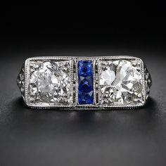 Art Deco Twin Diamond and Calibre Sapphire Ring