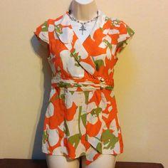 Silk, retro, wrap top Amazing retro look.  Bright, Spring colors.  100% silk.  Perfect Spring top! Banana Republic Tops Blouses
