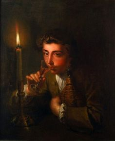 """""""Boy drinking wine by candlelight"""" (circa by Philip Mercier Lighting Diagram, Antique Fairs, Old Master, Nocturne, Wine Drinks, Light Art, Oil Painting On Canvas, 18th Century, Mona Lisa"""