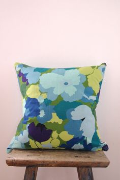 CAMO FLOWER - cushion cover designer vintage fabric green , blue, mint throw pillow with ICE blue Warwick reverse