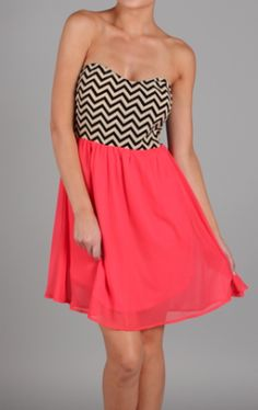 Coral & chevron dress. Cute, I love the top of the dress and the color at the bottom really blends nicely.