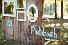 DIY photobooth from old barn wood.