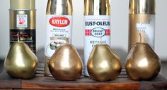 rose gold paint | Here are our pears after each a few thin coats and they fully dried: