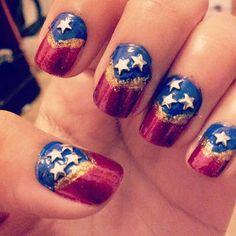 Wonder woman inspired nail art!