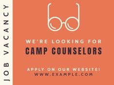 A bright Job Vacancy template with an orange background, white and black text, and an illustration of glasses. Camp Counselor, Orange Background, How To Apply, Positivity, Bright, Templates, Glasses, Illustration, Black
